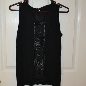 Talbots black beaded silk blend sweater tank sz S
